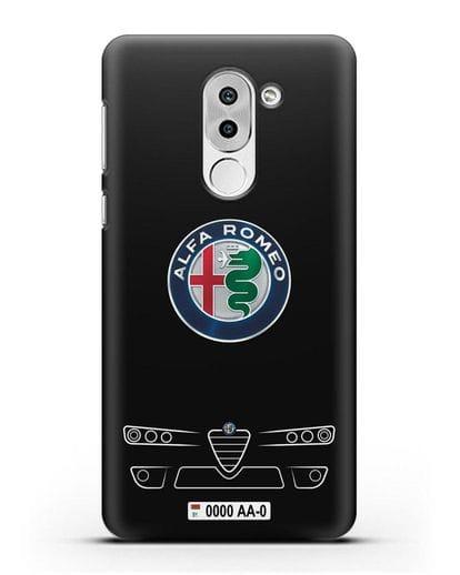 Чехол Alfa Romeo с номерным знаком силикон черный для Honor 6X