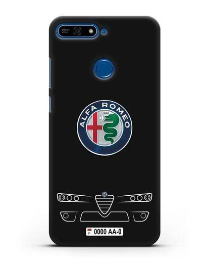 Чехол Alfa Romeo с номерным знаком силикон черный для Honor 7А Pro