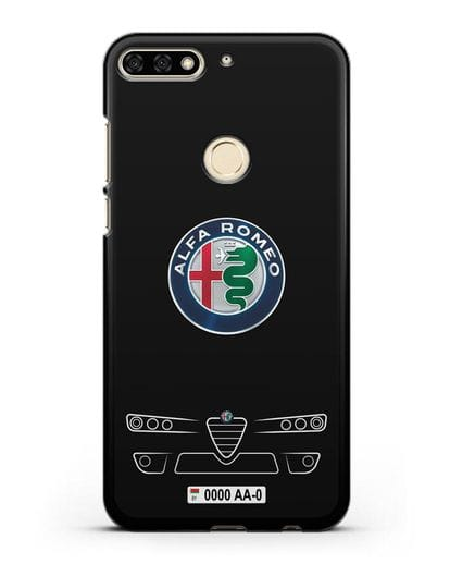 Чехол Alfa Romeo с номерным знаком силикон черный для Honor 7C