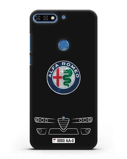 Чехол Alfa Romeo с номерным знаком силикон черный для Honor 7C Pro