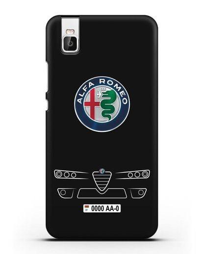 Чехол Alfa Romeo с номерным знаком силикон черный для Honor 7i