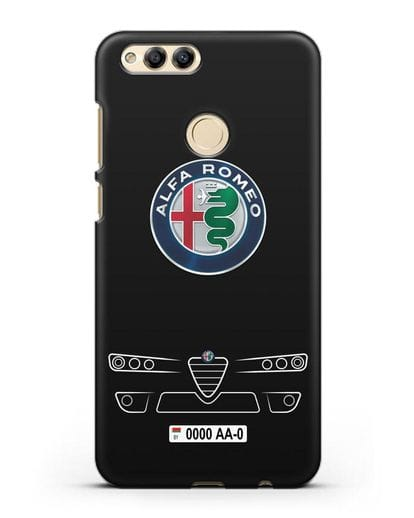 Чехол Alfa Romeo с номерным знаком силикон черный для Honor 7X