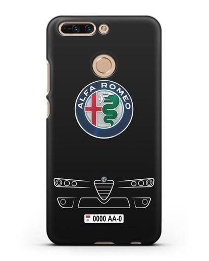 Чехол Alfa Romeo с номерным знаком силикон черный для Honor 8 Pro
