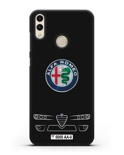 Чехол Alfa Romeo с номерным знаком силикон черный для Honor 8C