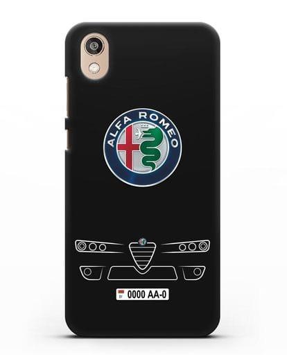 Чехол Alfa Romeo с номерным знаком силикон черный для Honor 8S