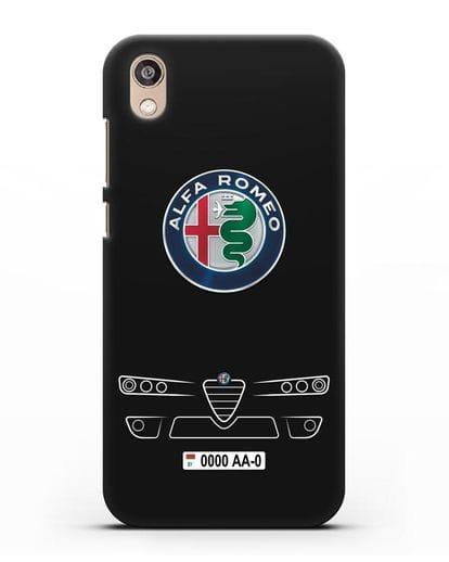 Чехол Alfa Romeo с номерным знаком силикон черный для Honor 8S Prime