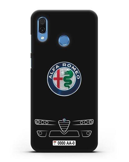 Чехол Alfa Romeo с номерным знаком силикон черный для Honor Play