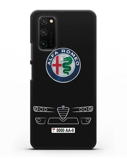 Чехол Alfa Romeo с номерным знаком силикон черный для Honor View 30 Pro