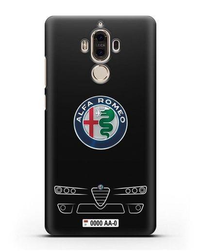 Чехол Alfa Romeo с номерным знаком силикон черный для Huawei Mate 9
