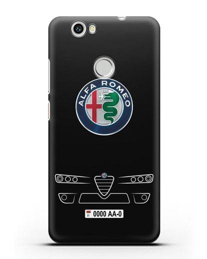 Чехол Alfa Romeo с номерным знаком силикон черный для Huawei Nova