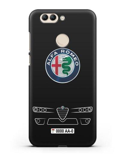 Чехол Alfa Romeo с номерным знаком силикон черный для Huawei Nova 2 Plus