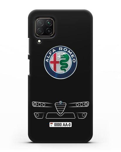 Чехол Alfa Romeo с номерным знаком силикон черный для Huawei Nova 7i