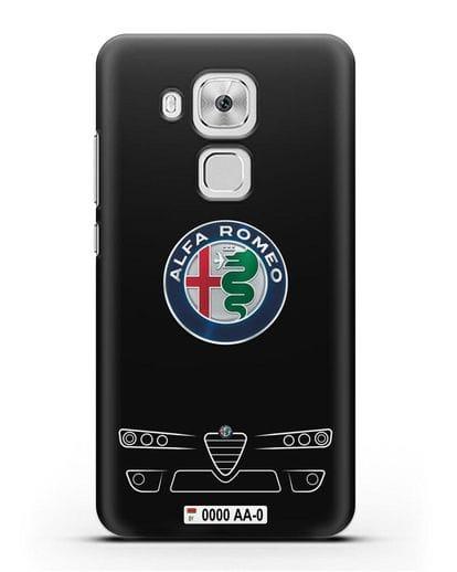 Чехол Alfa Romeo с номерным знаком силикон черный для Huawei Nova Plus