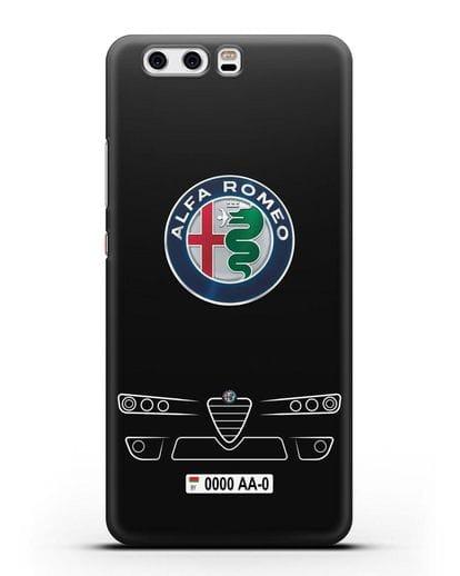 Чехол Alfa Romeo с номерным знаком силикон черный для Huawei P10