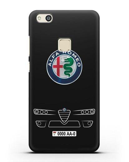Чехол Alfa Romeo с номерным знаком силикон черный для Huawei P10 Lite