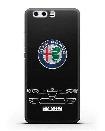 Чехол Alfa Romeo с номерным знаком силикон черный для Huawei P10 Plus