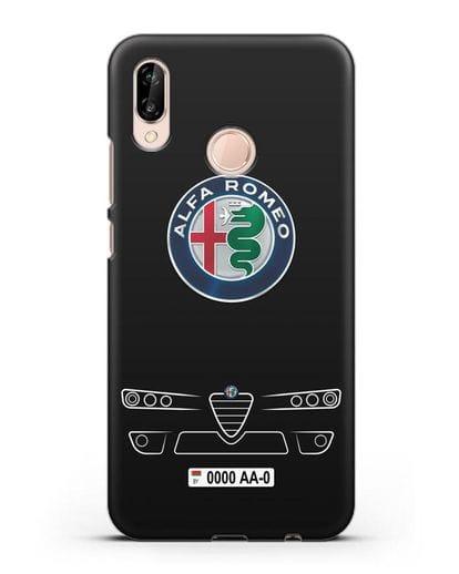 Чехол Alfa Romeo с номерным знаком силикон черный для Huawei P20 Lite