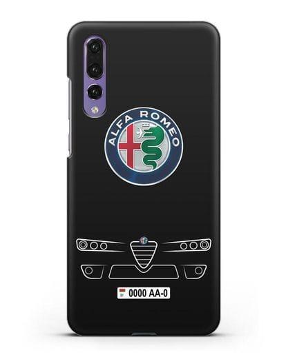 Чехол Alfa Romeo с номерным знаком силикон черный для Huawei P20 Pro