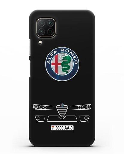 Чехол Alfa Romeo с номерным знаком силикон черный для Huawei P40 lite