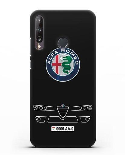 Чехол Alfa Romeo с номерным знаком силикон черный для Huawei P40 lite E