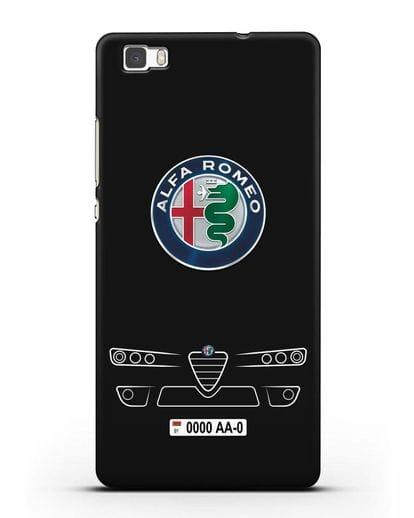 Чехол Alfa Romeo с номерным знаком силикон черный для Huawei P8 Lite