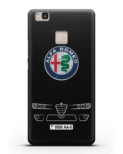 Чехол Alfa Romeo с номерным знаком силикон черный для Huawei P9 Lite