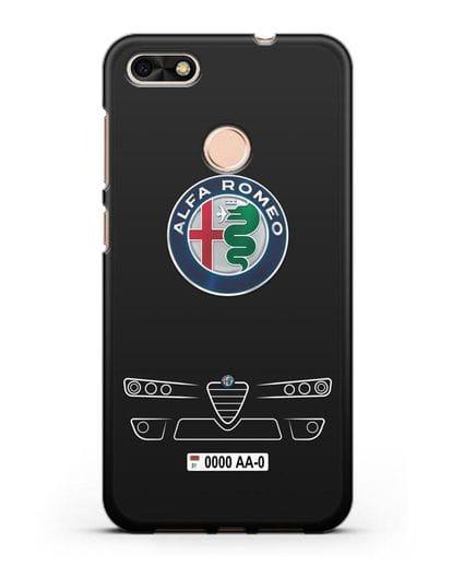 Чехол Alfa Romeo с номерным знаком силикон черный для Huawei P9 Lite mini