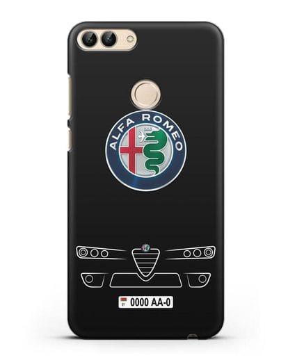 Чехол Alfa Romeo с номерным знаком силикон черный для Huawei P Smart