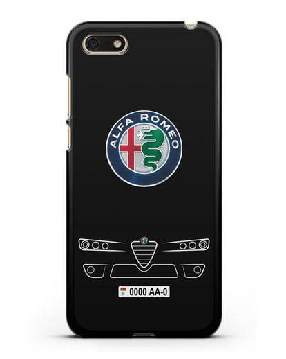 Чехол Alfa Romeo с номерным знаком силикон черный для Huawei Y5 Prime 2018