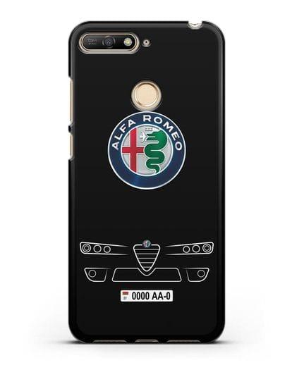 Чехол Alfa Romeo с номерным знаком силикон черный для Huawei Y6 Prime 2018