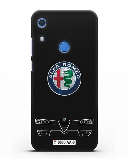 Чехол Alfa Romeo с номерным знаком силикон черный для Huawei Y6s