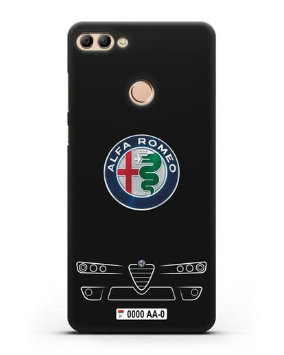 Чехол Alfa Romeo с номерным знаком силикон черный для Huawei Y9 2018