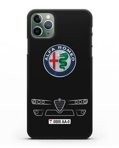 Чехол Alfa Romeo с номерным знаком силикон черный для iPhone 11 Pro Max