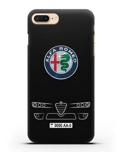 Чехол Alfa Romeo с номерным знаком силикон черный для iPhone 8 Plus