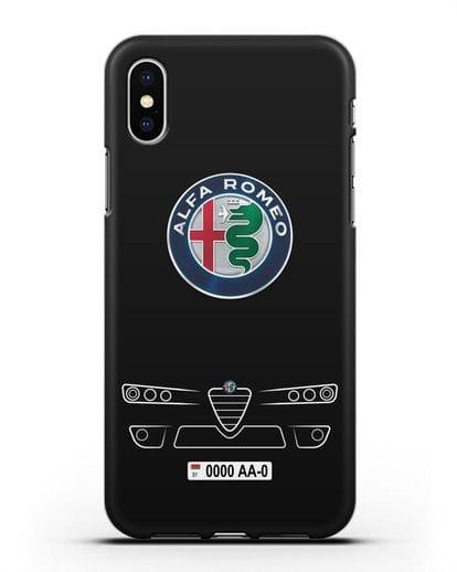 Чехол Alfa Romeo с номерным знаком силикон черный для iPhone XS