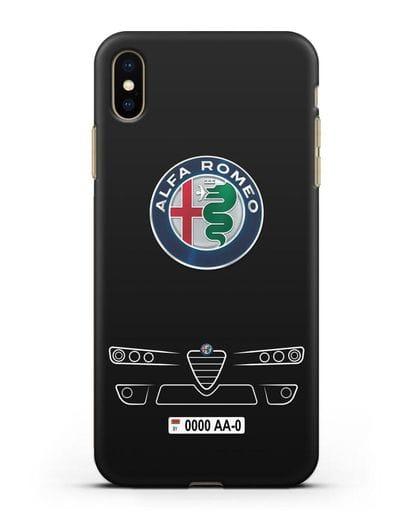 Чехол Alfa Romeo с номерным знаком силикон черный для iPhone XS Max