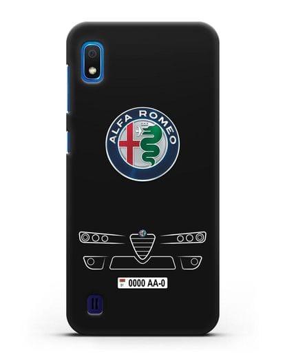 Чехол Alfa Romeo с номерным знаком силикон черный для Samsung Galaxy A10 [SM-A105F]