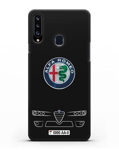 Чехол Alfa Romeo с номерным знаком силикон черный для Samsung Galaxy A20s [SM-A207FN]