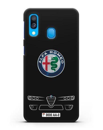 Чехол Alfa Romeo с номерным знаком силикон черный для Samsung Galaxy A40 [SM-A405F]