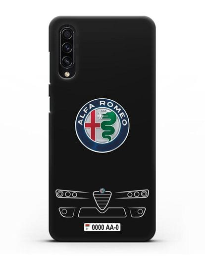 Чехол Alfa Romeo с номерным знаком силикон черный для Samsung Galaxy A50s [SM-F507FN]