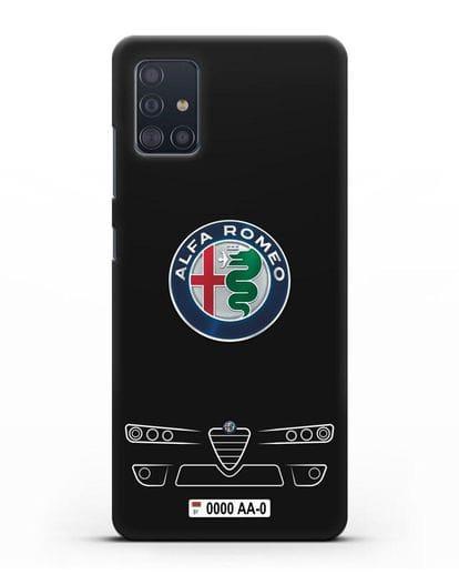 Чехол Alfa Romeo с номерным знаком силикон черный для Samsung Galaxy A51 [SM-A515F]