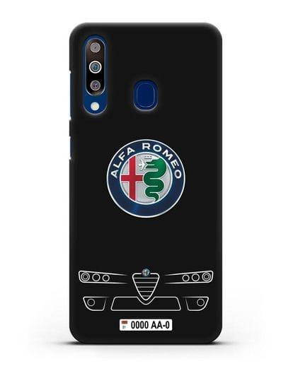 Чехол Alfa Romeo с номерным знаком силикон черный для Samsung Galaxy A60 [SM-A606F]