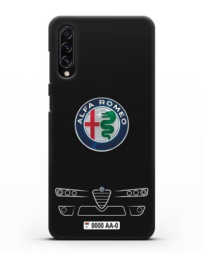 Чехол Alfa Romeo с номерным знаком силикон черный для Samsung Galaxy A70s [SM-A707F]