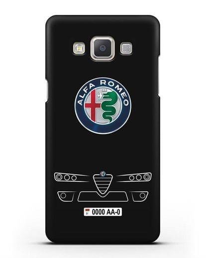 Чехол Alfa Romeo с номерным знаком силикон черный для Samsung Galaxy A7 2015 [SM-A700F]