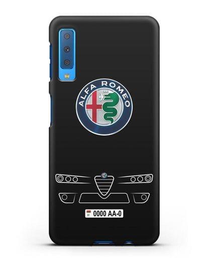 Чехол Alfa Romeo с номерным знаком силикон черный для Samsung Galaxy A7 2018 [SM-A750F]