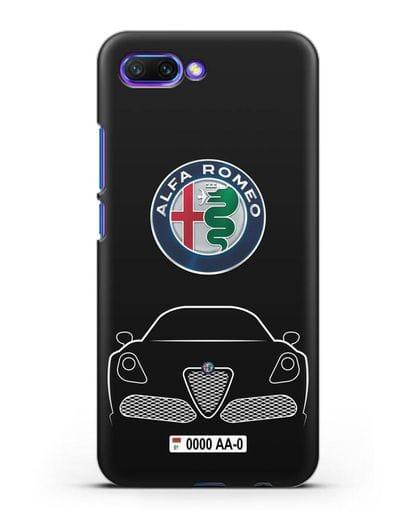 Чехол Alfa Romeo с автомобильным номером силикон черный для Honor 10