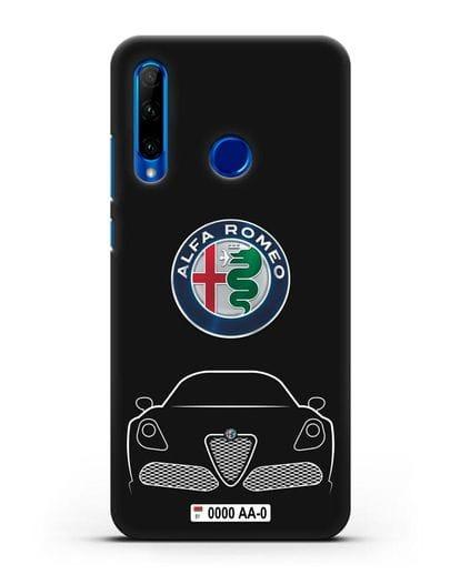 Чехол Alfa Romeo с автомобильным номером силикон черный для Honor 10i