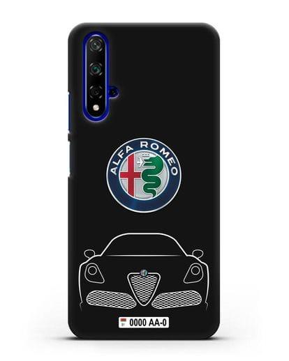 Чехол Alfa Romeo с автомобильным номером силикон черный для Honor 20