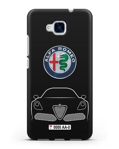 Чехол Alfa Romeo с автомобильным номером силикон черный для Honor 5C