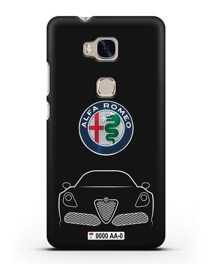 Чехол Alfa Romeo с автомобильным номером силикон черный для Honor 5X